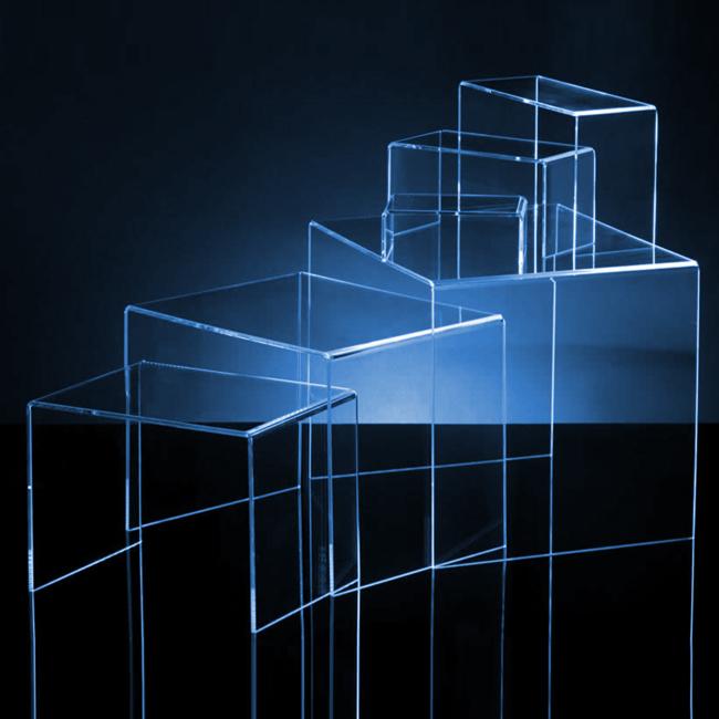 Alzatine in plexiglas, Espositori da terra in plexiglas