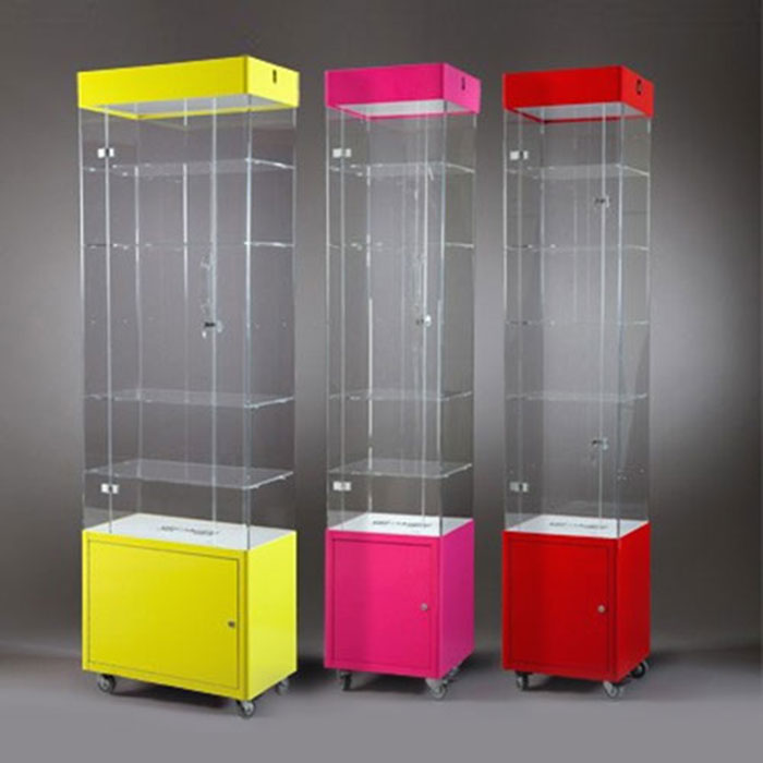 Vetrinette in metallo e plexiglass, Espositori in metallo